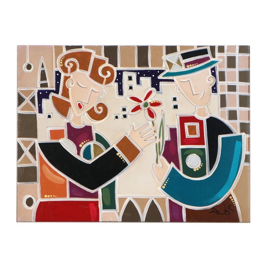 """Eric Waugh Abstract Embellished Giclée """"In Love with You"""""""
