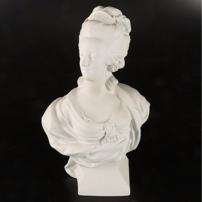 C. Tharaud Limoges Bisque Bust of Marie Antoinette after Louis-Simon Boizot