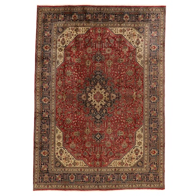 7'11 x 11'7 Hand-Knotted Persian Kashan Room Sized Rug