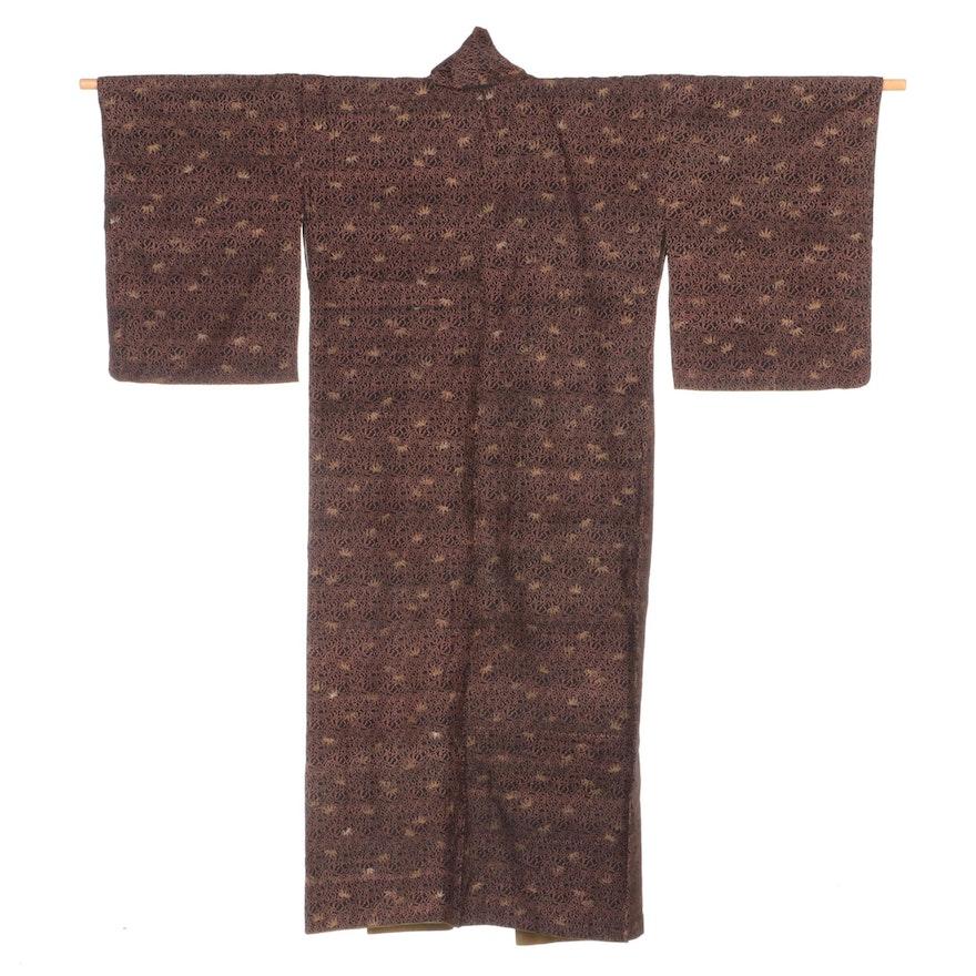 Japanese Surihaku Style Asanoha Motif Black Kimono, Shōwa Period