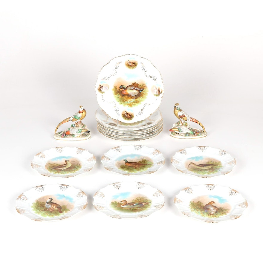English Golden Pheasant Porcelain Figurines with Other Game Bird Plates
