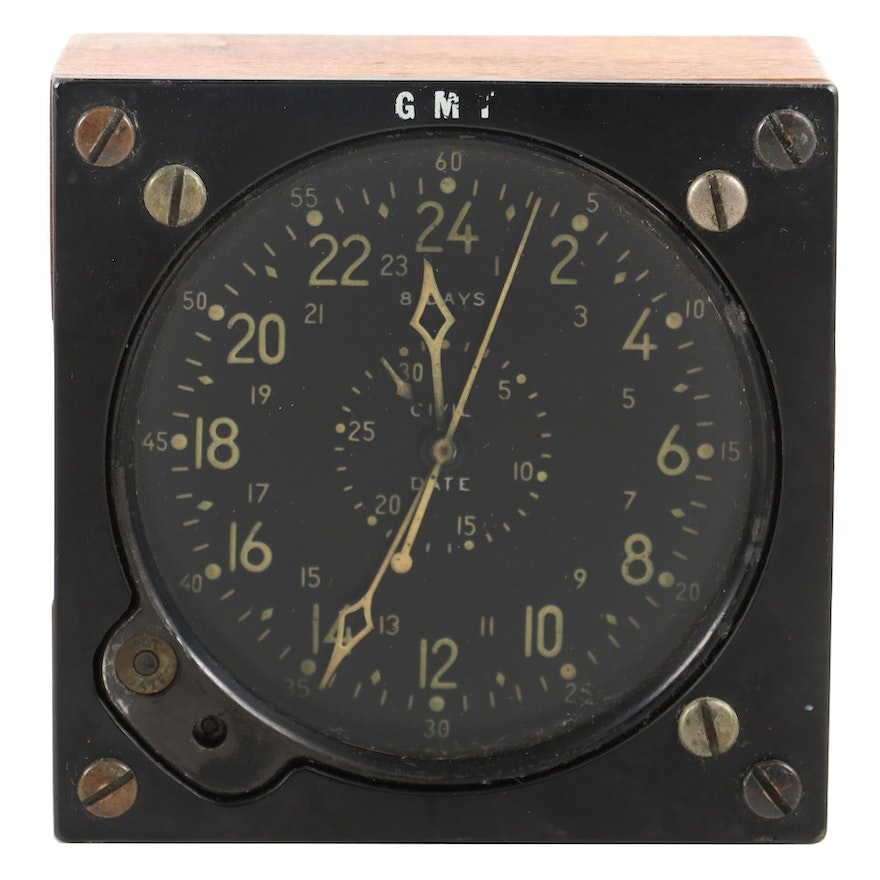 Greenwich Mean Time 8-Day Civil Date Indicator Aircraft Clock, Mid-20th C.