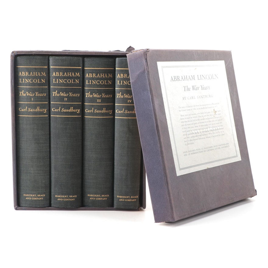 """First Trade Edition """"Abraham Lincoln: The War Years"""" Complete Set by C. Sandburg"""