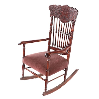 "American Oak and Birch Press-Back ""North Wind"" Rocking Armchair, circa 1900"
