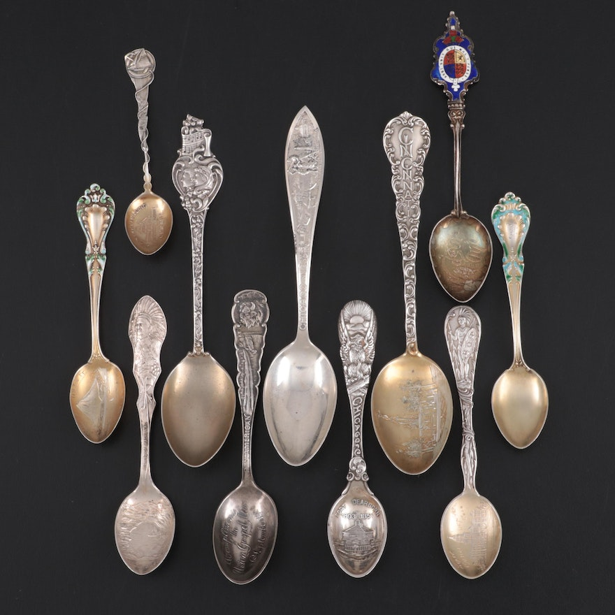 Mechanics, Paye & Baker and other Sterling Silver Souvenir Spoons, Antique