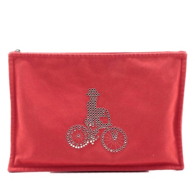 Hermès Velocipediste Large Zip Case in Studded Red Cotton Canvas