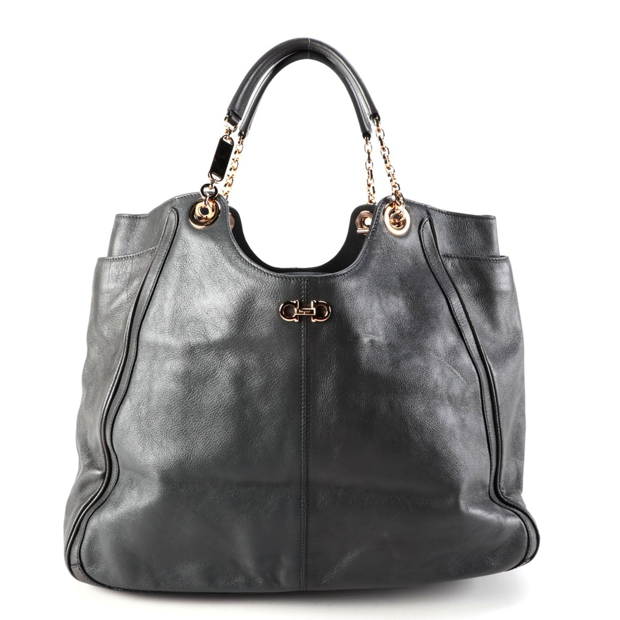 Salvatore Ferragamo Betulla Tote Bag in Grey Leather