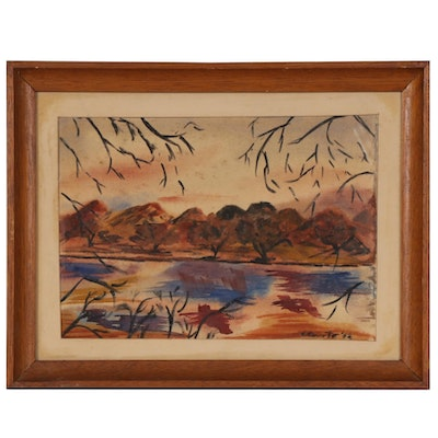 Lakescape Watercolor Painting, 1960s