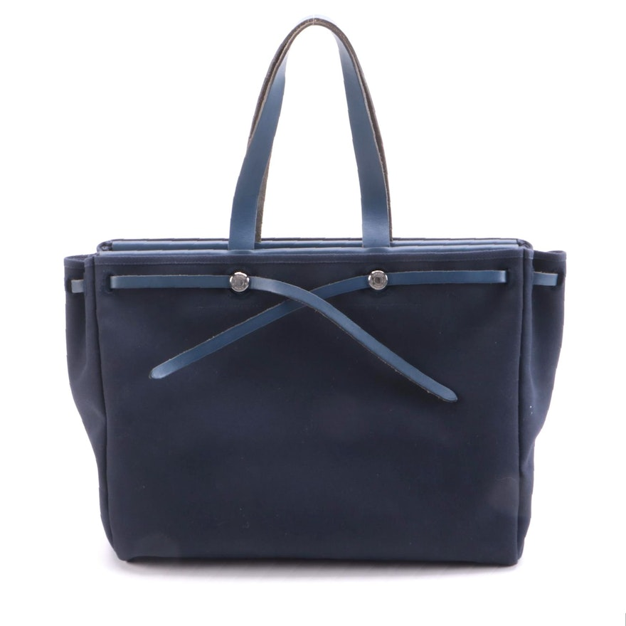 Hermès Herbag Navy Cabas Toile and Leather Tote