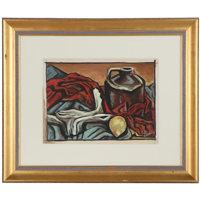 Melvin Tess Acrylic Still Life Painting, Mid to Late 20th Century
