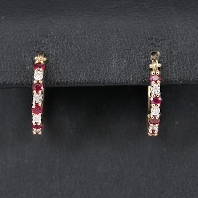 14K Ruby and Diamond Hoop Earrings
