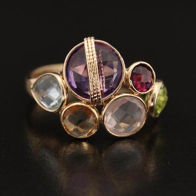 14K Ring with Amethyst, Topaz, Garnet, Rose Quartz, Peridot and Citrine
