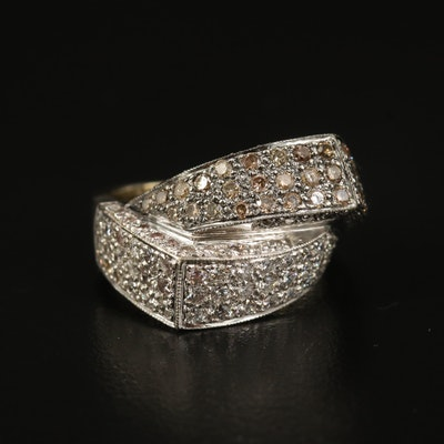 18K 1.58 CTW Diamond Crossover Ring