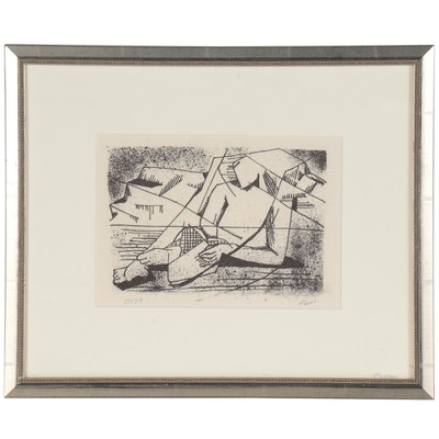 Melvin Tess Abstract Lithograph, 20th Century