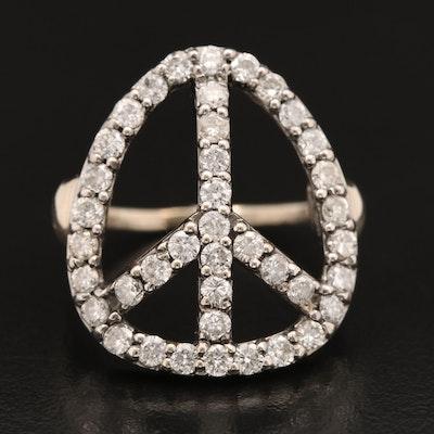 14K 1.90 CTW Diamond Peace Symbol Ring