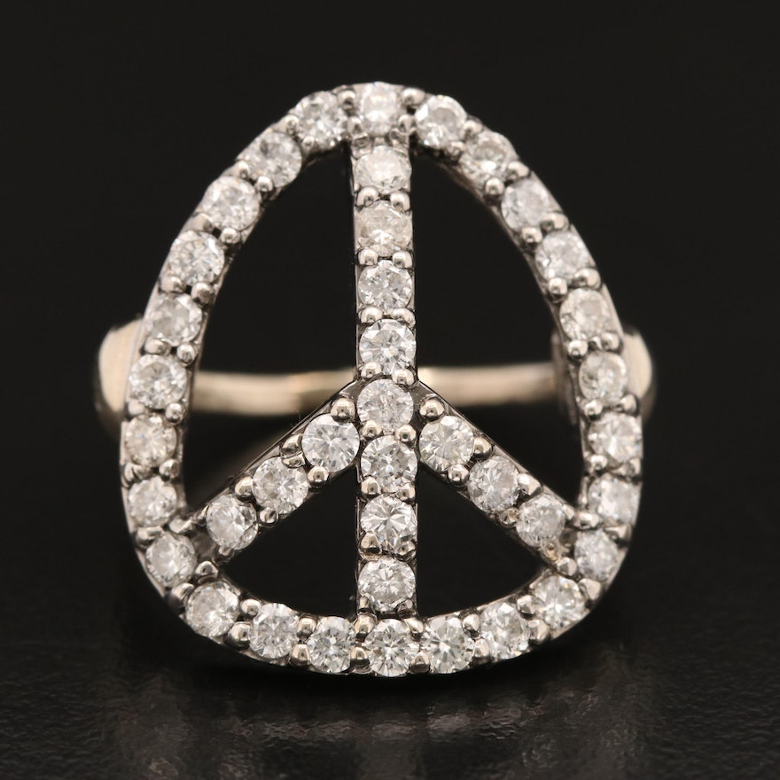 14K 1.90 CTW Diamond Peace Symbol Ring