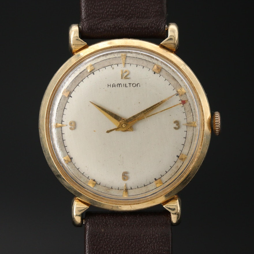 1952 Hamilton Fleetwood 14K Gold Stem Wind Wristwatch