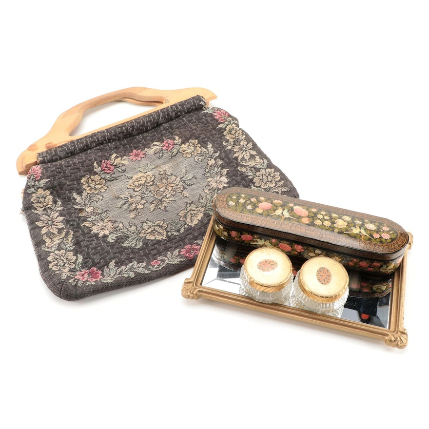 Hand-Painted Lacquer Pen Box with Other Vanity Items and Purse