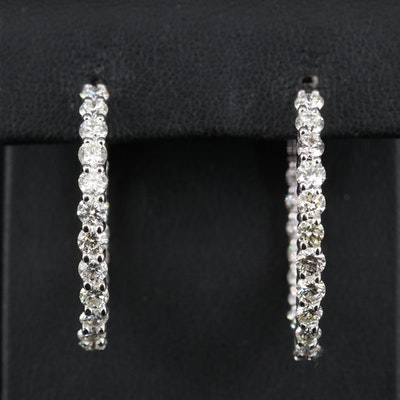14K 4.36 CTW Diamond Inside-Out Hoop Earrings