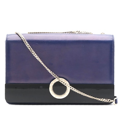 Bvlgari Signature Navy Blue Leather Shoulder Bag