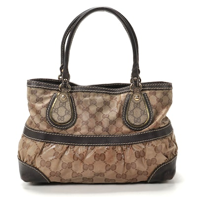 Gucci GG Supreme Coated Canvas and Leather Satchel Bag
