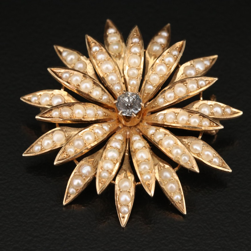Vintage 14K Pearl Star Burst Converter Brooch with Glass Paste Center