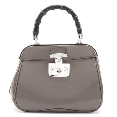 Gucci Bamboo Lady Lock Top Handle Bag in Grey Polished Leather