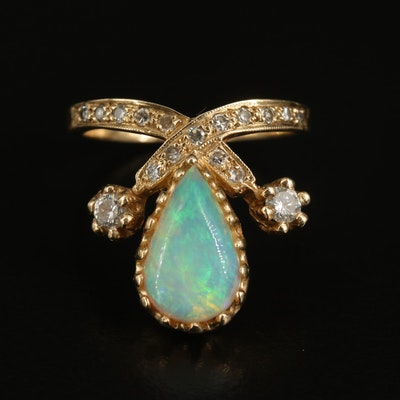 14K Opal and Diamond Teardrop Crossover Ring