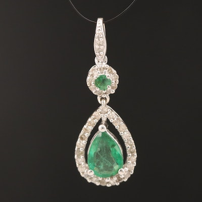 14K Emerald and Diamond Pendant with 1.00 CT Center Stone