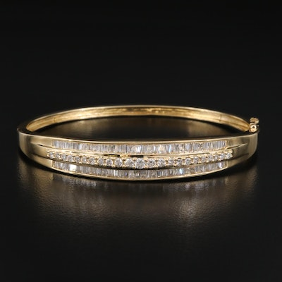14K 3.00 CTW Diamond Hinged Oval Bangle