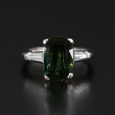 Platinum 3.08 CT Tourmaline and Diamond Ring