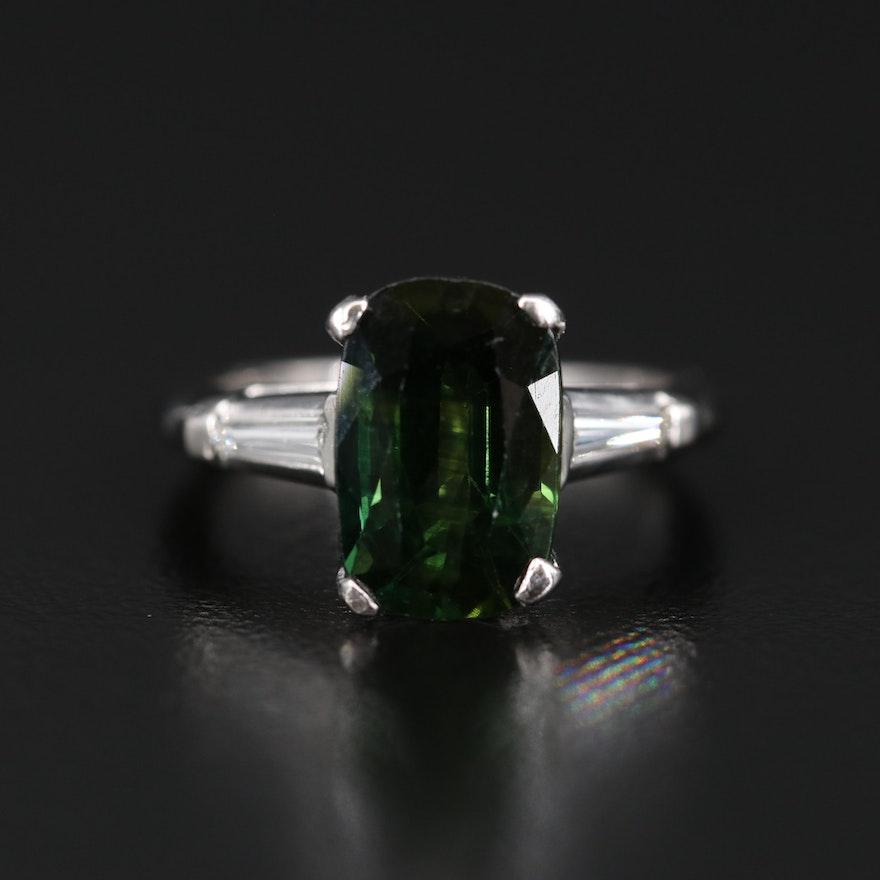 Platinum 3.08 CT Tourmaline and Diamond Ring