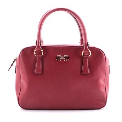 Salvatore Ferragamo Gancio Bowler Bag in Red Saffiano Leather