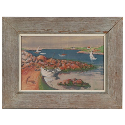 "Herbert William Pratt Serigraph ""Low Tide,"" Mid-20th Century"