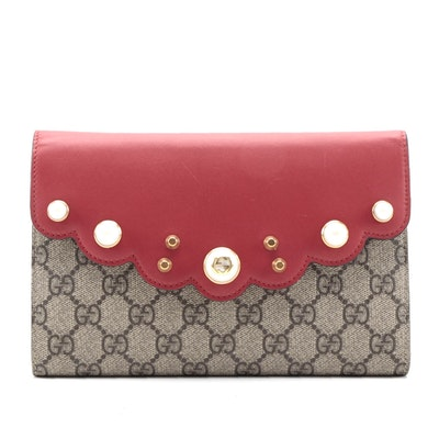 Gucci GG Supreme Pearly Peony Clutch in Red Leather