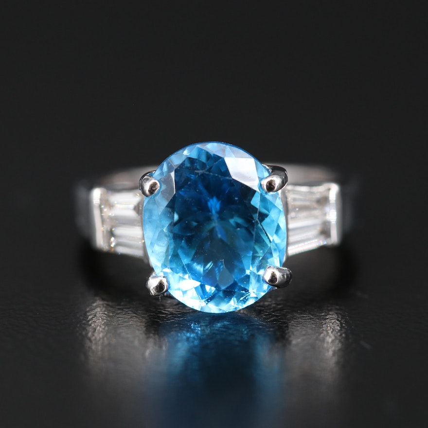 14K 2.20 CT Blue Topaz and Diamond Cathedral Ring