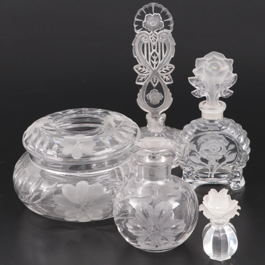Etched Glass Perfume Bottles and Vanity Jar, Mid to Late 20th Century