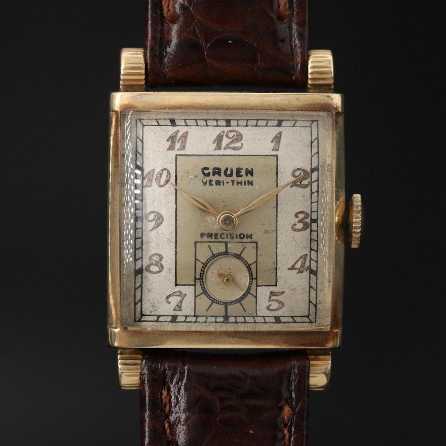 Gruen Veri Thin Precision 14K Gold Wristwatch, Circa 1942