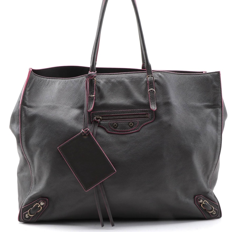 Balenciaga Papier A4 Medium Tote in Dark Grey Grained Leather with Pink Edge