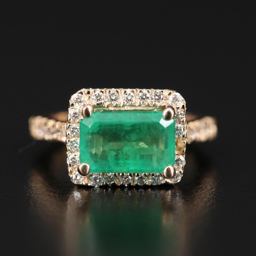 14K 2.38 CT Emerald and Diamond Halo Ring