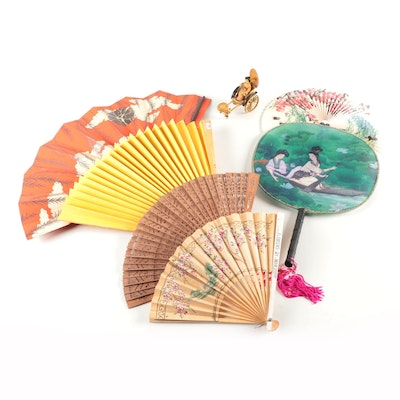 Folding Wooden and Paper Fans with Rickshaw Figurine