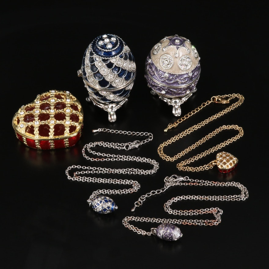 """Stauer """"Empress Violet"""" Egg Shaped Trinket Boxes with Matching Necklaces"""