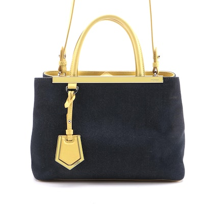 Fendi Petite 2Jours Denim Tote Bag with Citron Leather Trim