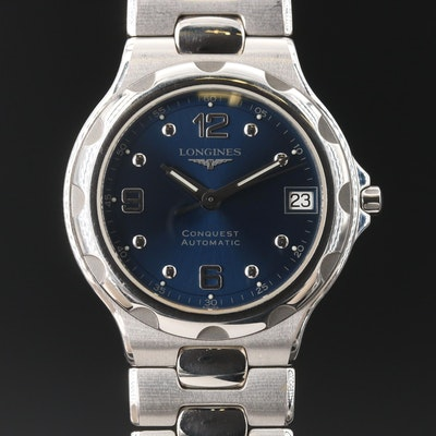 Longines Conquest Stainless Steel Automatic Wristwatch