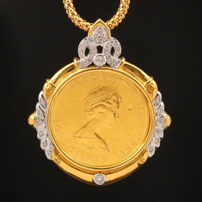 18K and 14K Diamond Necklace with 1984 Canadian $50 Gold Maple Leaf Coin