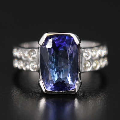 14K 3.01 CT Tanzanite Ring with Diamond Double Row Shoulders