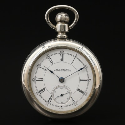 Aurora Watch Co. For G.H. Brown, Greencastle, Indiana Pocket Watch