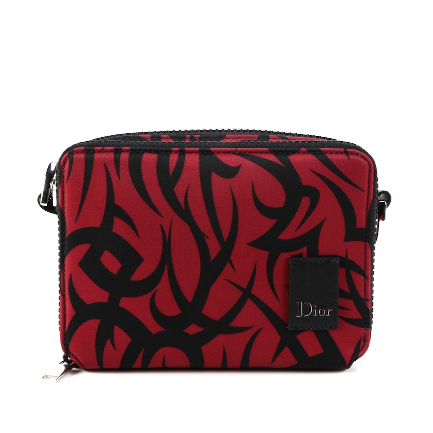 Christian Dior Double Zip Crossbody in Black and Red Print Nylon