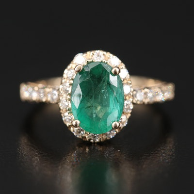 14K 1.58 CT Emerald and Diamond Ring