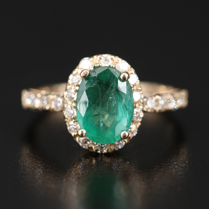 14K 1.58 CT Emerald and Diamond Ring